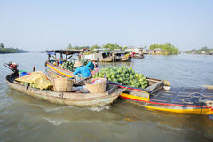 Phung Hiep floating market at seven-ways crossroads (Nga Bay), Can Tho city, Tien Giang Stock Image