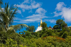 Phuse mountain, the landmark of Luang Prabang Stock Images