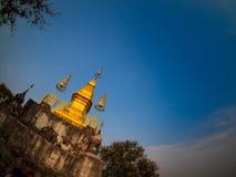Phusi pagoda on the top of Phusi hill, Luangprabang, Laos.  Stock Photo
