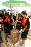 Phutai minority woman pounding rice. Royalty Free Stock Images