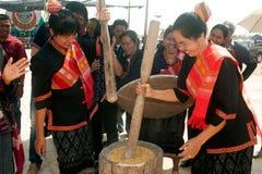 Phutai minority woman pounding rice. Royalty Free Stock Photography