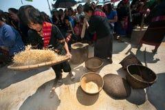 Phutai minority woman pounding and winnowing rice. Stock Photo