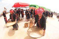 Phutai minority woman pounding and winnowing rice. Stock Photography
