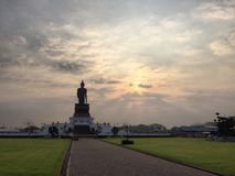 Phutthamonthon Buddhist Park Nakhonpathom Thailand. In the morning royalty free stock photos