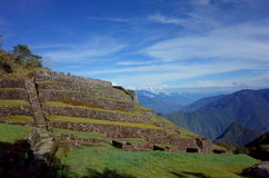 The Phuyupatamarca ruins on the Inca Trail. Carved into the mountain side Stock Photos