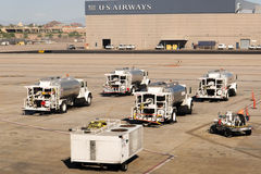PHX airport. Fuel trucks parked on the ramp. Royalty Free Stock Photography