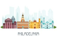 Phyladelphia skyline and famous attractions. vector illustration
