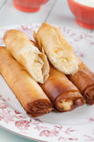 Phyllo pastry cheese rolls Royalty Free Stock Image