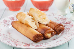 Phyllo pastry cheese rolls Royalty Free Stock Photos