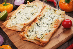 Phyllo pastry filled with cheese and spinach Stock Images