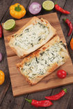 Phyllo pastry filled with cheese and spinach Stock Photo