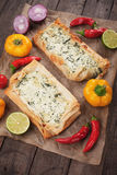 Phyllo pastry filled with cheese and spinach Royalty Free Stock Photo