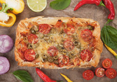 Phyllo pastry pizza Royalty Free Stock Images