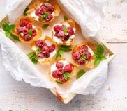 Phyllokoppen met Mascarpone-kaas bedekt vullen met frambozen, hoogste mening stock afbeeldingen