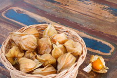 Physalis in basket on table Royalty Free Stock Images