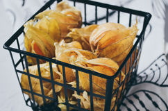 Physalis. In the basket on the towel Royalty Free Stock Image