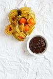 Physalis And Chocolate stock photos