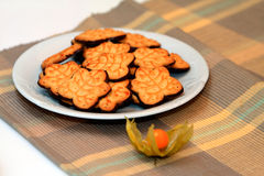 Physalis and cookies. Physalis on the table with cookies Stock Photography