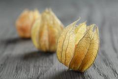 Physalis fruit on oak wooden table Royalty Free Stock Photos