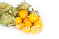 Physalis fruits. Physalis with cutted fruits in front stock images