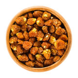 Physalis fruits, dried, in wooden bowl over white Stock Photo