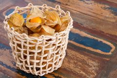Physalis with husk in basket Stock Photo
