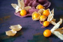 Physalis mûr et jaune juteux sur le conseil en bois rustique avec le tissu photographie stock