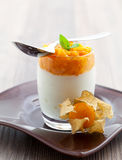 Physalis mash on quark Royalty Free Stock Photography