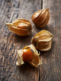 Physalis on old wooden background Stock Photos