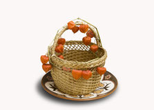 Physalis in a wicker basket Royalty Free Stock Photography
