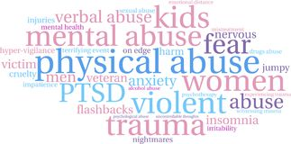 Physical Abuse Word Cloud. On a white background Stock Images