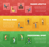 Physical Activity Banners Set Stock Image