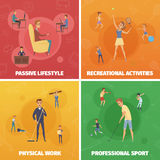 Physical Activity Compositions Set Stock Image