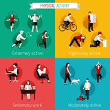 Physical activity flat set Stock Photography