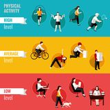 Physical activity horizontal banners Royalty Free Stock Photo