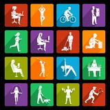 Physical activity icons flat Royalty Free Stock Photo