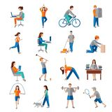 Physical activity icons Stock Photography