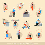 Physical activity icons set Royalty Free Stock Image