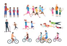Physical activity. People flat fitness set with parents and children in sport activities. Isolated vector illustration