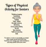 Physical activity for seniors. Vector Illustration. Physical activity for seniors. Running Old Woman Royalty Free Stock Image