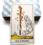 Ace of Wands Tarot Card Initiative Creative Inspirational Drive, Ambition, Adventure, Excitemen. Physical Beginnings Potential Growth Action, Initiative Creative Stock Photos