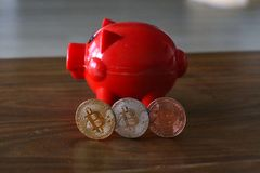 Physical bit coin. Bitcoin. Physical bit coin. Digital currency. Cryptocurrency Royalty Free Stock Photos