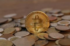 Physical bit coin. Bitcoin. Physical bit coin. Digital currency. Cryptocurrency Stock Photo