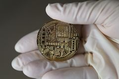 Physical bit coin. Bitcoin. Physical bit coin. Digital currency. Cryptocurrency Stock Image