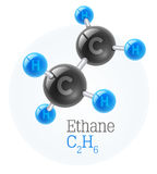 Physical chemical molecule model of gas ethane Royalty Free Stock Photo