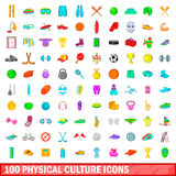 100 physical culture icons set, cartoon style. 100 physical culture icons set in cartoon style for any design vector illustration Royalty Free Stock Images