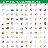 100 physical culture icons set, cartoon style. 100 physical culture icons set in cartoon style for any design vector illustration Stock Photo