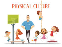 Physical Culture Lesson Retro cartoon Illustration. Primary school physical culture teacher enjoys modern sport facility with kids playing basketball and Stock Photography