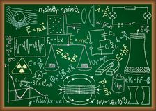 Physical doodles and equations on chalkboard Royalty Free Stock Photos