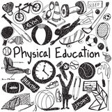 Physical education exercise and gym education chalk handwriting. Doodle icon of sport tool sign and symbol in white isolated background paper used for Stock Photos